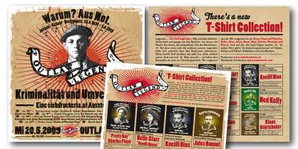 <p>T-Shirts Serie<br /> <strong>Outlaw Legend</strong><br /> Diverse Inserate und Plakate ...</p>